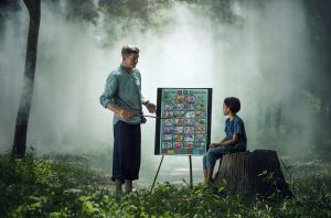Man teaching in the forest