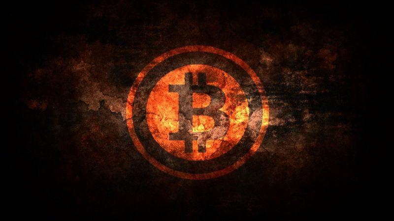 Bitcoin logo qui brûle