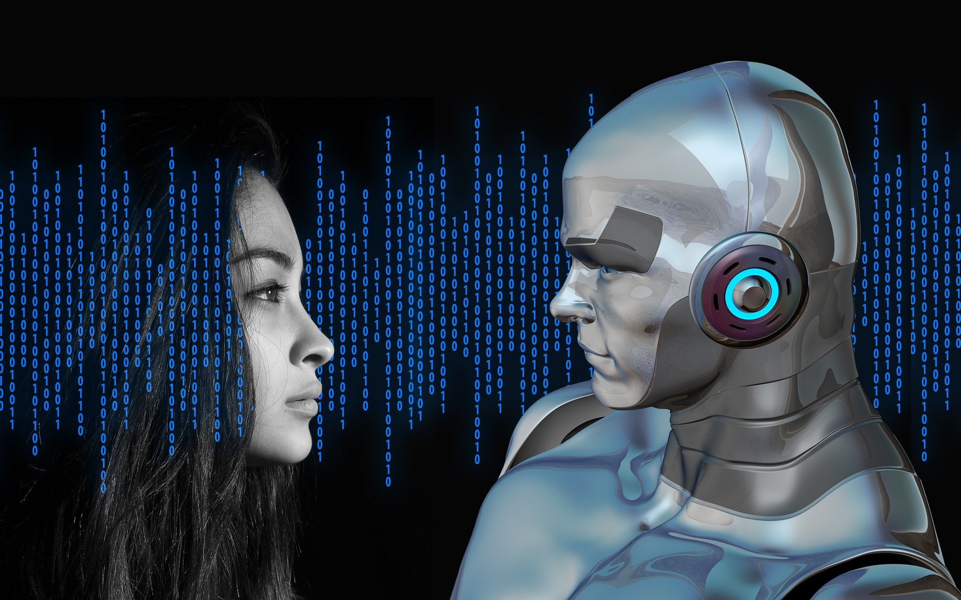 femme et robot numérique