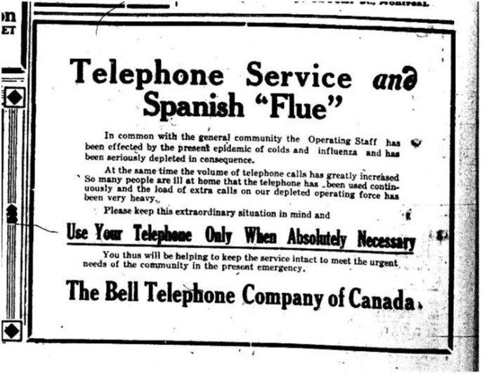 Grippe espagnole - saturation des télécommunication